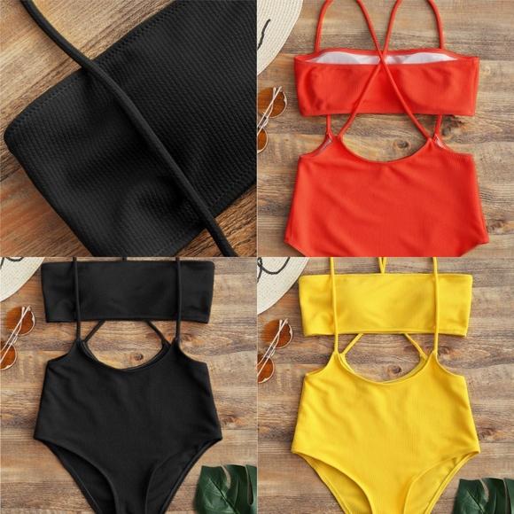 da5c59b810 Zaful Swim | Nwt Bandeau Top High Waisted Slip Bikini Bottoms | Poshmark